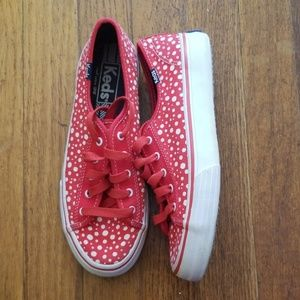 Keds Red White Polka Dot Canvas Shoes Size 5
